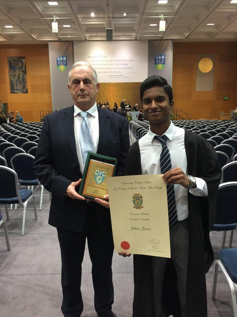 Mr. Nevill with Jithin James who won a scholarship