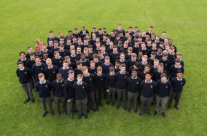 5th years with their Year Head Ms O'Keeffe